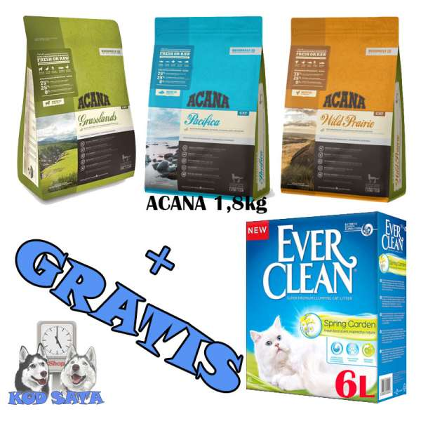 Acana Cat 1,8kg + GRATIS Ever Clean Spring Garden 6l